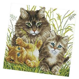 11CT Stamped Cross Stitch Kits Pattern with Threads & Needle
