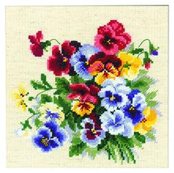 RIOLIS 1516 14 Count Pansy Medley Counted Cross Stitch Kit,
