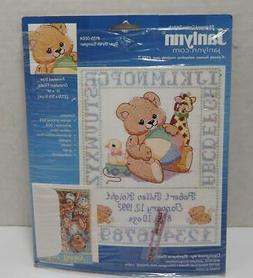 2002 Janlynn BEAR BIRTH SAMPLER Stamped Cross Stitch SEALED