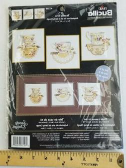 2003 Plaid Bucilla Counted Cross Stitch Kit 43260 Teacup Tri
