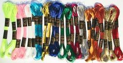 24 Metallic SKEINS Embroidery FLOSS Thread Cross Stitch