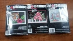 "3 Kits: Stamped Cross Stitch Crewel No Count Cross Stitch 7"""