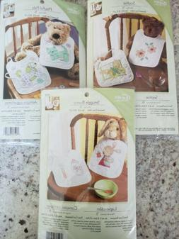3 Bucilla Stamped Cross Stitch Baby Bib Kits Sophie Playful