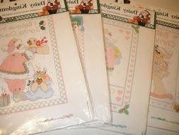 4 Daisy Kingdom Bucilla Stamped Cross Stitch Baby First Sant