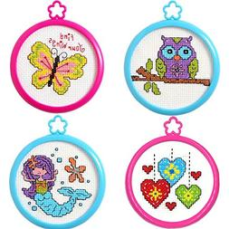 4 Item Bundle of My 1st Cross Stitch Kits: Butterfly, Mermai