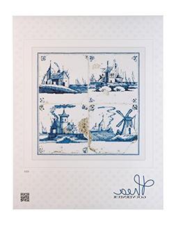 Thea Gouverneur 484A  Delft Blue Antique Tiles on 18 Count A