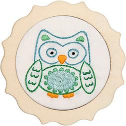 Bucilla 49043E Blue Owl My 1st Stitch Stamped Embroidery
