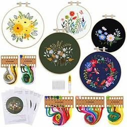 5 Sets Embroidery Starter Kit with Pattern and Instructions,