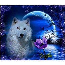 Awakingdemi 5D Diamond Painting ,Night Wolf 5D Diamond DIY P