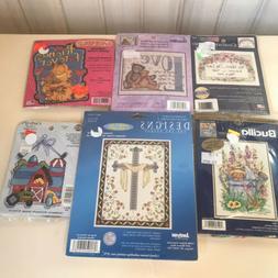 6 Mini Country Folk Cross Stitch Kits - Designs-Bucilla - NM