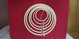 Caydo 6 Piece Wooden Embroidery Hoops, 50 Colored Thread & 1