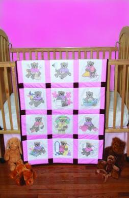 Fairway 92320 Baby Quilt Block, Cross Stitch Girl Bear Desig