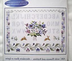 "DMC ""ABC with Flowers and Rabbits"" Counted Cross Stitch Kit"