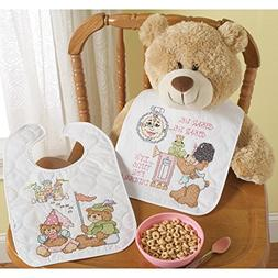 Bucilla Baby 45662 Stamped Cross Stitch Quilted Bib Pair Kit