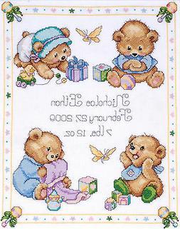 Baby Bears Birth Sampler Cross Stitch Kit
