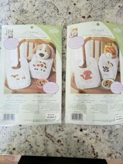 Bucilla Baby Bib Kits Stamped Cross Stitch And Felt Applique