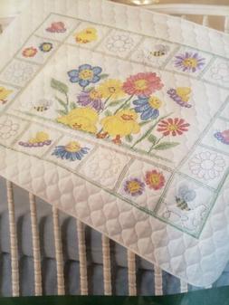 Bucilla Baby Donna Dewberry Crib Quilt Happy Faces Stamped C
