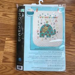 Dimensions BABY ELEPHANT ABC QUILT Stamped Cross Stitch Kit
