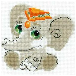 "RIOLIS Baby Elephant Counted Cross Stitch Kit-6""X6"" 10 Count"
