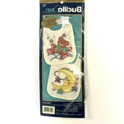 Bucilla Baby Stamped Cross Stitch Bib Kit, Celestial, 2 ea.