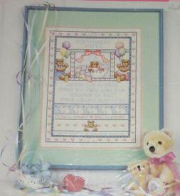 BEARS Bunny Birth Record Cross Stitch Kit Baby Announcement