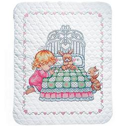 Tobin Bedtime Prayer Girl Baby Quilt - Stamped Cross Stitch