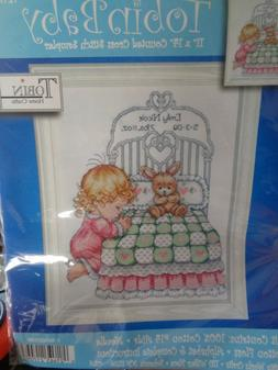 "Tobin ""Bedtime Prayer Girl"" Counted  Cross Stitch Sampler. 1"