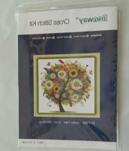 BENWAY COUNTED CROSS STITCH COLORFUL LUCKY TREE FLOWERS 14 C
