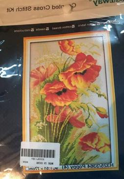 Benway Counted Cross Stitch Kit Poppy New