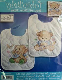 Tobin  Bib Pair Kits  Stamped Cross Stitch  Pre-Finished,  C