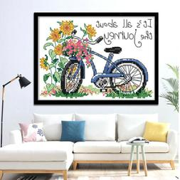 Bicycle Journey Stamped Cross Stitch Kits for Beginners Adul