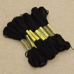 Black Cross Stitch Cotton Crochet Embroidery Floss Thread Sk