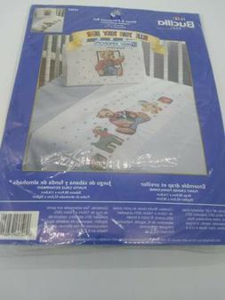 Bucilla Blue Jean Teddy Bear Stamped Cross-Stitch Baby Sheet