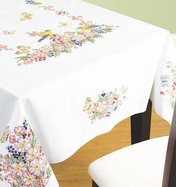 """Birds & Butterflies Tablecloth - 52"""" x 70"""" Stamped Cross Sti"""