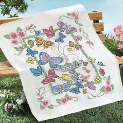 Herrschners® Butterfly Garden Lap Quilt Top Stamped Cross-S