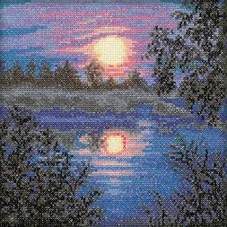 """RTO C113 18 Count Evening Counted Cross Stitch Kit, 6"""" by 6"""""""