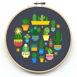 Cactus Cross Stitch Kit Beginner - Counted Cross Stitch Kits