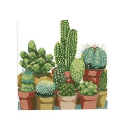 Cactuses Stamped Cross Stitch Kits Pre-printed Without Frame