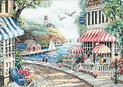 """Cafe By The Sea Counted Cross Stitch Kit-14""""X10"""" 14 Count"""