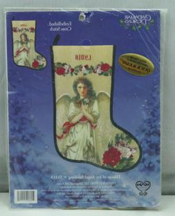 Candamar Tidings of Joy Angel Stocking Embellished Cross Sti