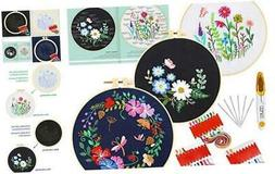 Caydo 3 Sets Embroidery Starter Kit with Pattern and Instruc