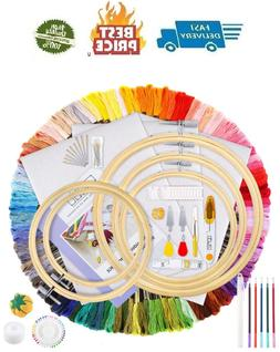 Caydo Hand Embroidery Kit with Instructions, 100 Colors Thre