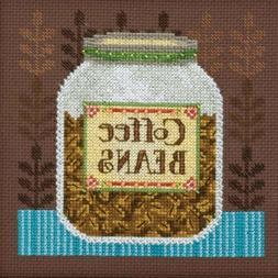 Coffee Beans Cross Stitch Kit Mill Hill Debbie Mumm 2016 Goo