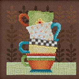 Coffee Cups Cross Stitch Kit Mill Hill Debbie Mumm 2016 Good