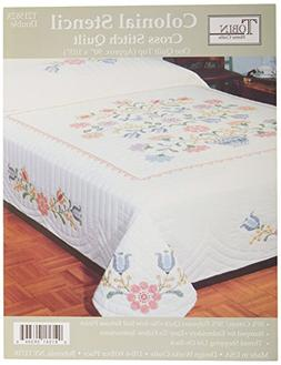 "Colonial Stencil Stamped Cross Stitch Quilt -90""X103"" Double"