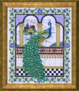 Counted Cross Stitch, Peacock, 10 by 12 inches