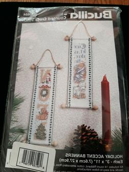 Bucilla Counted Cross Stitch Holiday Accent Banners  Kits #8