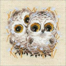 """RIOLIS Counted Cross Stitch Kit 5""""X5"""" Little Owls  499993096"""