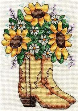 "Design Works Counted Cross Stitch Kit 5""X7"" Cowboy Boots (14"