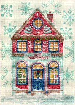 """Dimensions Counted Cross Stitch Kit 5""""X7"""" Holiday Home  0886"""